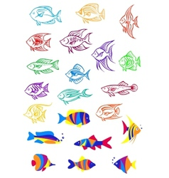 Colorful cartoon underwater fishes vector