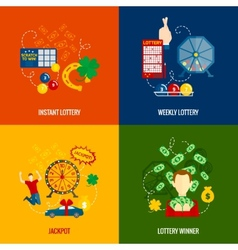Lottery 4 flat icons vector