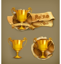 Gold trophy old-style vector