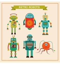 Set of cute retro vintage robots vector