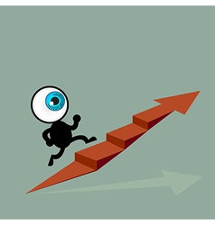 The blue eye running to top of graph path arrow vector