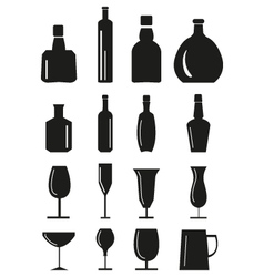 Wine glass and bottle icons set vector