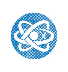 Atom part icon with pixel print halftone dots vector