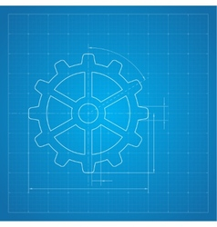 Gears symbol on the drawing paper vector