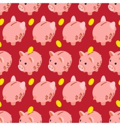 Seamless pattern with piggy bank vector