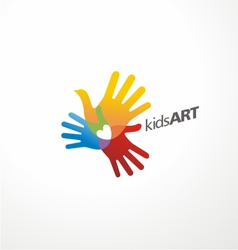 Kids art logo design vector
