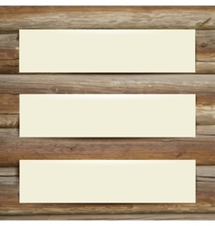Template white banner on the wooden table vector
