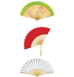 Folding fan set vector