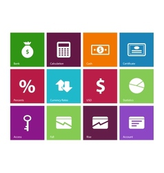 Economy icons on color background vector