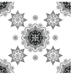 Folk inspired wallpaper in black and white vector