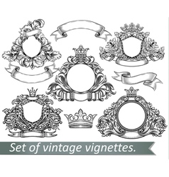 Set of vintage emblem with crowns and ribbons vector