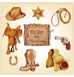 Wild west set colored vector