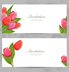 Invitation cards with a tulips for your design vector
