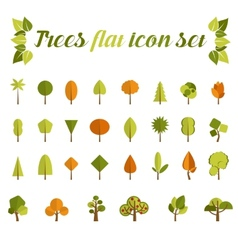 Tree icon set in a modern style flat vector