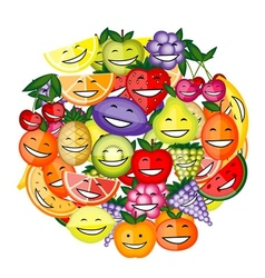 Funny fruit characters smiling together for your vector