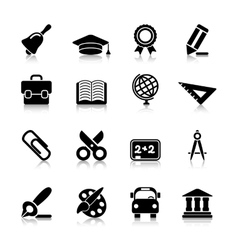 Education icons with reflection vector