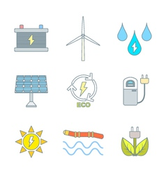 Colored outline recycle ecology energy icons vector