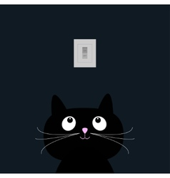 Black cat in the dark tumbler on off switch flat vector