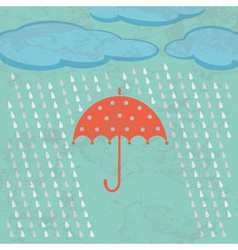 Umbrella clouds and rain drops vector