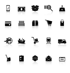 Shipment icons with reflect on white background vector