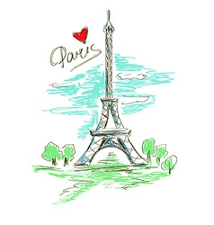 Sketch of eiffel tower vector