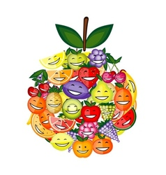 Funny fruit characters smiling together apple vector