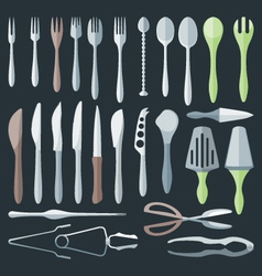 Flat color cutlery set vector