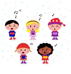 Multicultural caroling kids vector