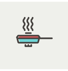 Frying pan with cover thin line icon vector
