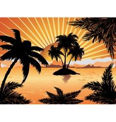 Sunset tropical island vector