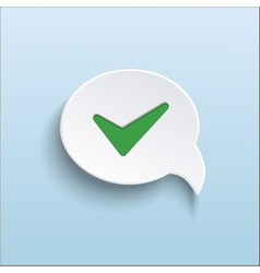 Green check mark on speech bubble vector