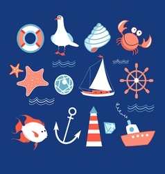 Icons to the marine theme vector