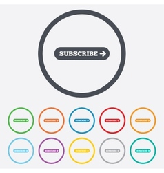 Subscribe with arrow sign icon membership symbol vector