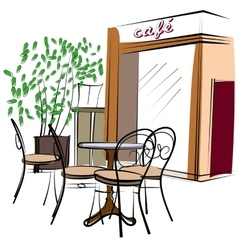 Hand drawn paris cafe vector