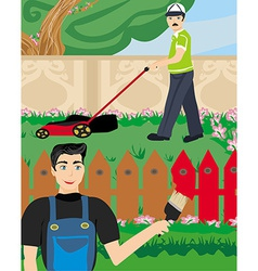 Man paints a fence in the garden vector