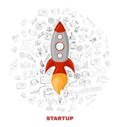 Business startup launch concept poster print vector