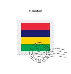 Mauritius flag postage stamp vector
