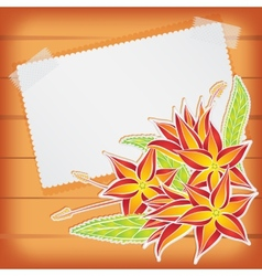 Greeting card with scotch tape and flowers vector