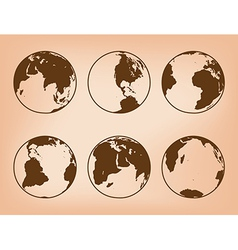 Brown globes with continents - set of earth vector