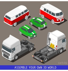 Isometric flat 3d vehicle set at car park vector