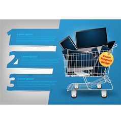 Computer concept in the shopping cart vector