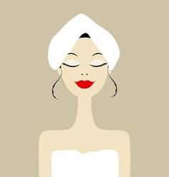 Pretty woman in spa salon vector