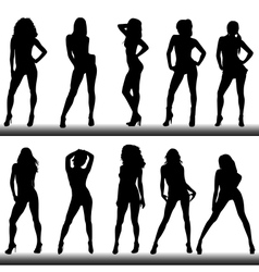 Set of girl silhouettes vector