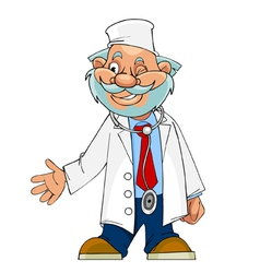 Cartoon character cheerful doctor paramedic vector