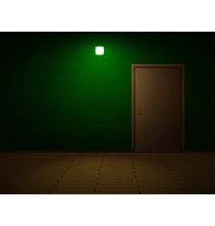 Very dark room with door vector