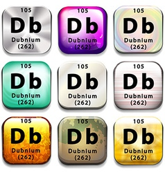 A periodic table showing dubnium vector