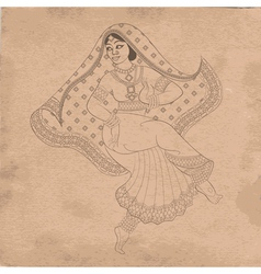 Dancing indian woman on old paper vector