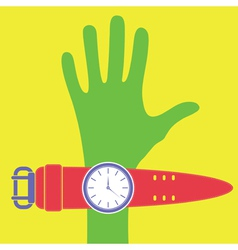 Cartoon hand with watch vector
