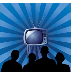 Family watching retro tv set vector