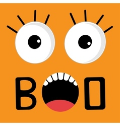 Scary face emotions boo happy halloween card flat vector
